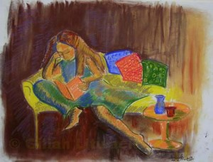 """Curling Up With a Book"", pastel on paper"