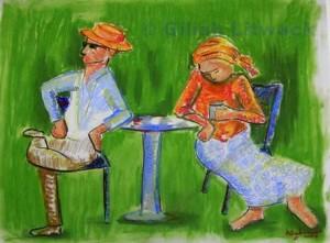"""His Jaunty Hat"", pastels on paper"